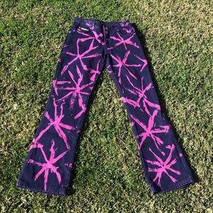 Pants - Pink/Purple Acid Wash Low arise Jeans